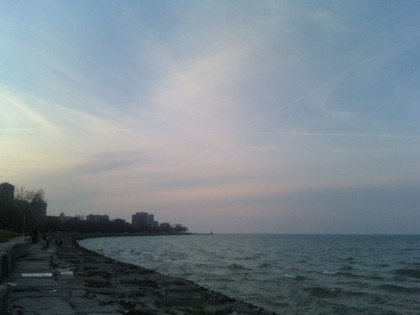looking north from Lawrence Avenue at Lake Michigan
